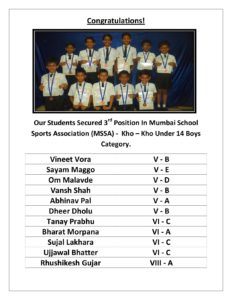 Winners Of Mumbai School Sports Association (MSSA) Kho – Kho 2015
