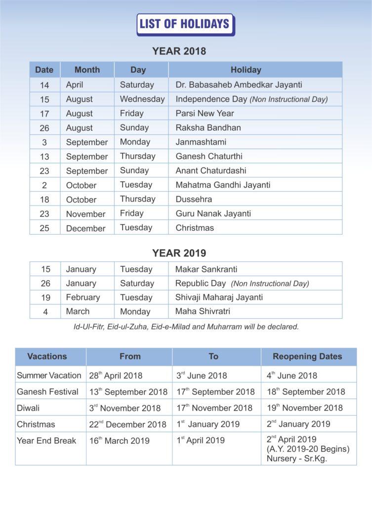 List of Holidays