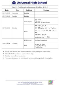 Class II – First Formative Assessment Schedule – 2018-19