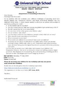 Classes VII – X – Parents Workshop