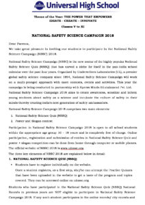 Classes V to XI – National Safety Science Campaign 2018