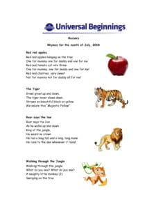 Nursery – Rhymes for the month of July , 2018