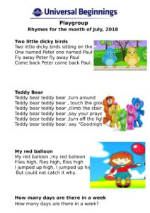 Playgroup – Rhymes for the month of July , 2018