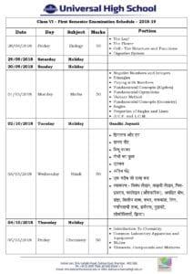 Class VI – First Semester Examination Schedule – 2018-19
