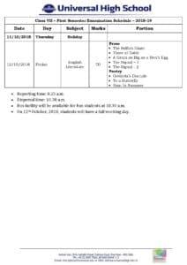 Class VII – First Semester Examination Schedule – 2018-19
