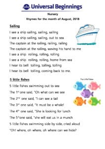 Nursery – Rhymes for the month of August , 2018