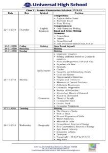 Class X – Booster Examination Schedule 2018-19