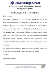 Revised Classes I to V – Celebrating Dr. A . P . J. Abdul Kalam