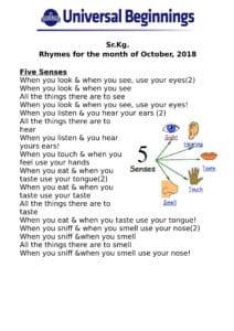 Sr.Kg. – Rhymes for the month of October , 2018