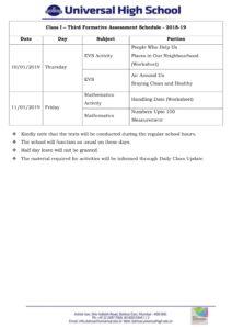 Class I – Third Formative Assessment Schedule 2018-19