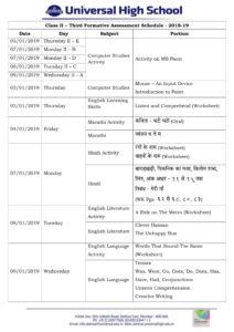 Class II – Third Formative Assessment Schedule 2018-19