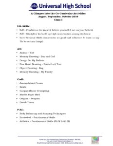 Class-I-A-Glimpse into the Co-Curricular-Activities-August,September,October-2019